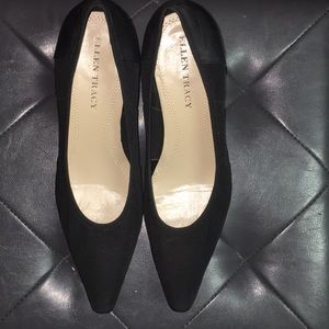 Ellen Tracy Black Heels With Leather Sole!